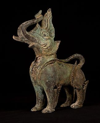 18th century Antique Khmer Bronze 'King of the Animals' Statue - 37cm/14.5""