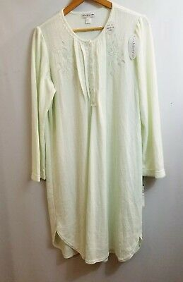 MISS ELAINE Womens Nightgown Cuddleknit Brushed Sage Sz L NEW