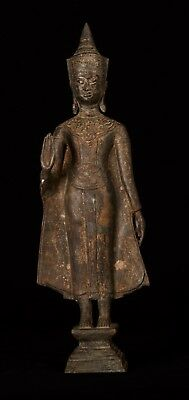 Antique Ayutthaya Style Thai Bronze Abhaya Protection Buddha Statue - 55cm/22""