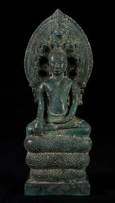 Antique Khmer Style Bronze Enlightenment Bayon Naga Buddha Statue - 33cm/13""