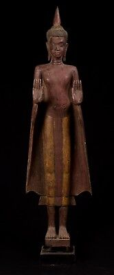 """Antique Khmer Style Wood Standing Protection Monday Buddha Statue - 129cm/52"""""""