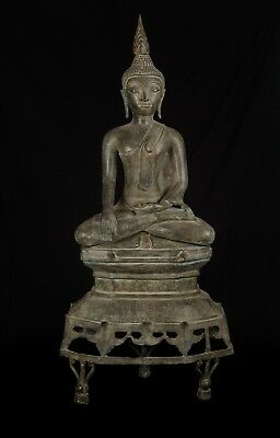 Antique 19th Century SE Asia Laos Enthroned Meditation Buddha Statue - 109cm/44""