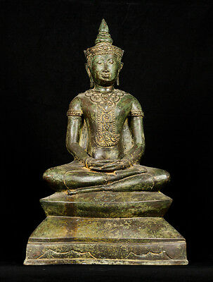 Large Antique 19th Century Ayutthaya Meditation Buddha Statue - 57cm/23""