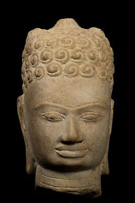 "Antique 7th Century Style Mounted Stone Khmer Buddha Head - 28cm/11"" Tall"