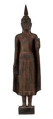 """Antique Khmer Style Wood Standing Protection Monday Buddha Statue - 62cm/25"""""""