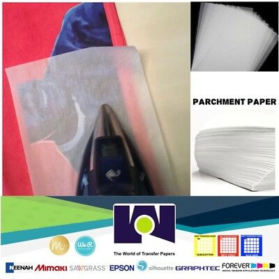 "SILICONE PARCHMENT PAPER FOR HEAT TRANSFER APPLICATIONS (8.5""x11"") 100 SHEETS/PK"