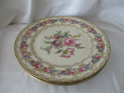 Rosenthal lot of 4 salad dessert plates Vienna roses gold lace Ivory Bavaria
