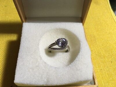 RSC 925 STAMPED  Sterling Silver Pale Lavender CZ Stone Band Ring Size 8