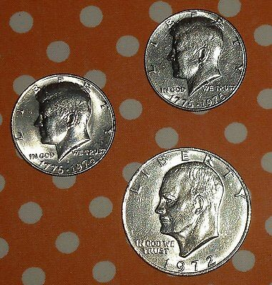 Lotto 3 Monete USA - KENNEDY - EISENHOWER - HALF-ONE DOLLAR - 1972-76