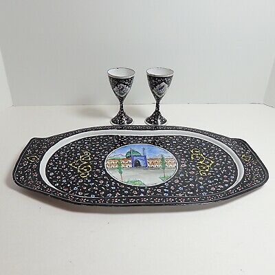 VTG Persian TRAY 2 Wine Cups Set Minakari Enamel Art Handmade Copper