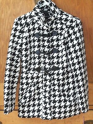 d6f393d23 NWT KIM ROGERS Black White Houndstooth Knit Jacket Cardigan Women s ...