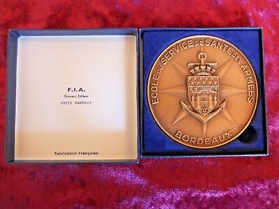 French Military Medical Corps Heavy Bronze Medal, Bordeaux, Rare, Mint Boxed.