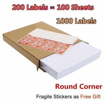 1000 Round Corner Half Sheet Shipping Label Self Adhensive 8.5x5.5 For Laser UPS