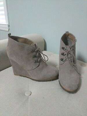 bb69accd6f5 STEVE MADDEN TANNGOO Suede Wedge Booties Size US 9.5 Ankle Boots ...