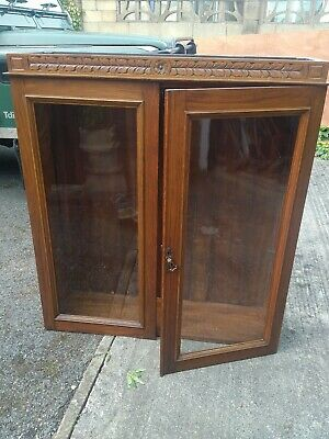 Edwardian stained glass front oak bookcase