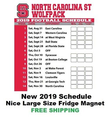 North Carolina State Wolfpack 2019 NCAA Football Schedule - Large Size #192