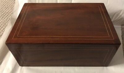 Antique W K Cowan CO Chicago solid mahogany Wood Box Letters Trinkets 1900