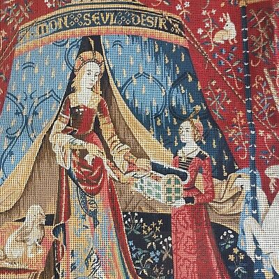 Large MARGOT CREATIONS de PARIS Lady & the Unicorn Needlepoint Canvas Only 47""
