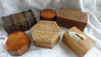 6 Small Wooden Boxes - Job Lot