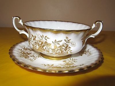 VINTAGE ROYAL ALBERT ANTOINETTE GOLD SOUP COUPS/CUPS&SAUCERS , used in VGC