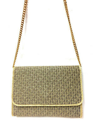 c251b26012 Vintage CHRISTIAN DIOR Taupe/Metallic Gold Logo-Patterned Fabric Evening Bag
