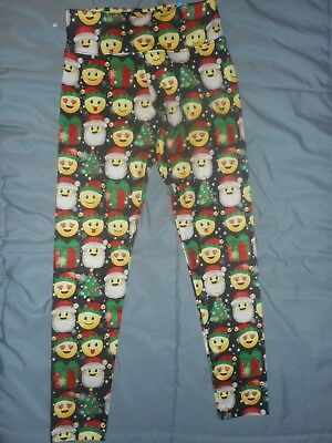Girls Justice Emoji Christmas Leggings  Size 12 NWT