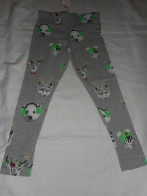 Girls Justice Holiday Gray Animal Dog Penguin Reindeer Leggings  Size 20 NWT
