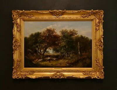 A Fine Original 19th Century Oil On Canvas Wooded Landscape With Figures
