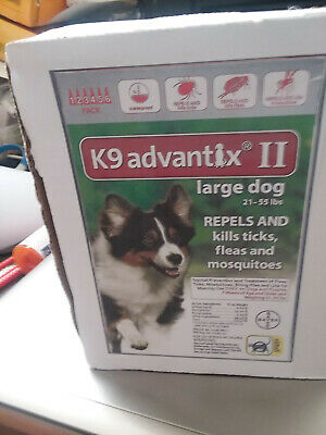 NEW Other Bayer K9 Advantix II Treatment for Large Dogs 21-55 lbs 6 doses .