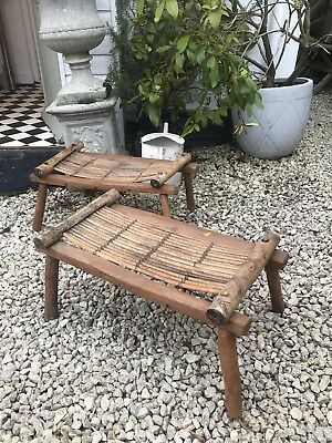 Hand Carved Oriental/ Japanese Stools/ Foot Rest