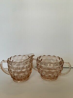 Pink Depression Glass Cream & Sugar Bowl Set, Jeannette Pattern, Vintage
