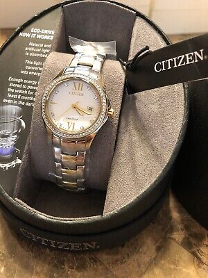 Citizen FE1144-85B Women's Eco-Drive Crystal Accented Bezel TwoTone Watch NWTNIB