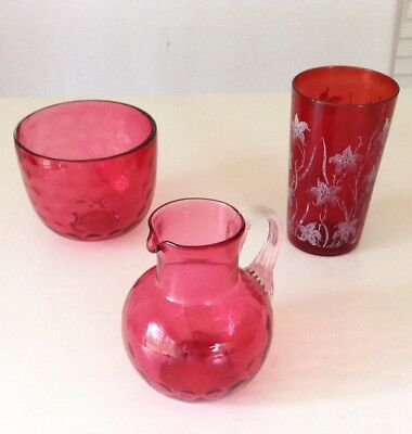 Antique Victorian Red Glass -3 Pieces-Cup, Pitcher, Bowl