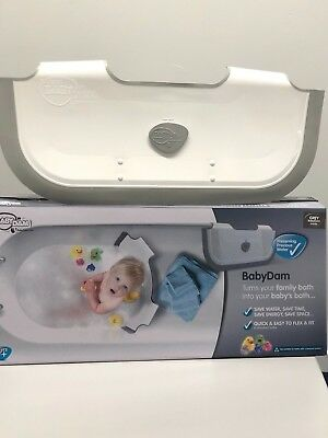 Ex Display, Still Boxed BabyDam Bathwater Barrier Baby Tub - Grey/White