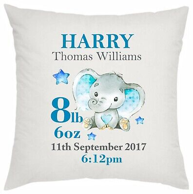 Personalised new baby boy cushion elephant birth details congratulations name