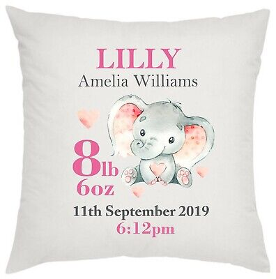 Personalised new baby girl cushion elephant birth details congratulations name