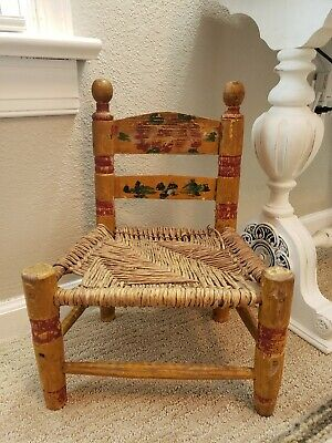 Vintage  Hand Painted Mexican Folk Art  Wooden Childs Rush Chair Free Ship