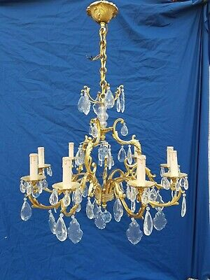 Antique French,large bronze chandelier,Louis XV, crystal,Rococo,L.Gau, 1950