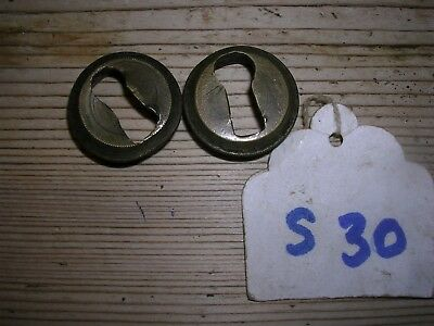 Pair Of Antique Brass Inset Escutcheons (S30)