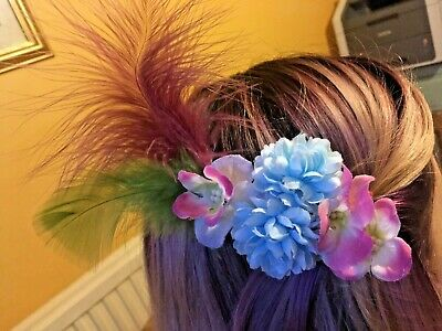 Pink Blue Flower Feather Hair Clips Fascinator Festival Bridesmaid Rockabilly