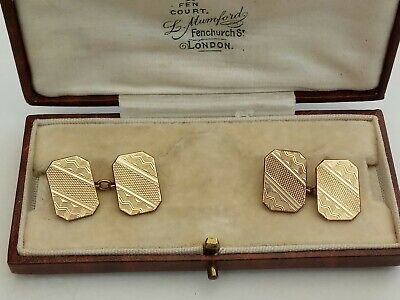 Lovely Vintage art deco cufflinks 9ct gold fronts and backs