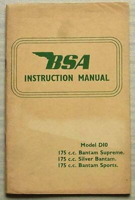 BSA D10 175cc BANTAM MOTORCYCLES Instructions Manual Handbook Aug 1966
