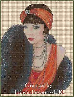 Art Deco Lady Orange Red/Black Stole Counted Cross Stitch COMPLETE KIT No.1-18b