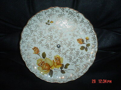 Old Foley James Kent Ltd Staffordshire Single Tear Cake Stand Yellow Roses