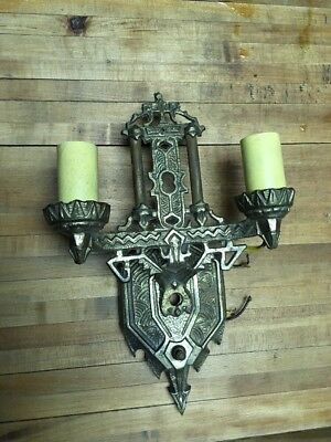 Vintage Art Nouveau Era Cast Brass Leviton Antique Wall Sconce Fixture Salvage