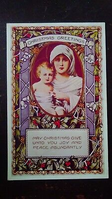 Christmas Greetings, Mother & Child, Decorated Like Stained Glass Window