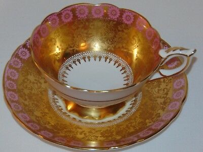 Vintage Rare Royal Stafford English Bone China Tea Cup & Saucer Pink Rose Gold
