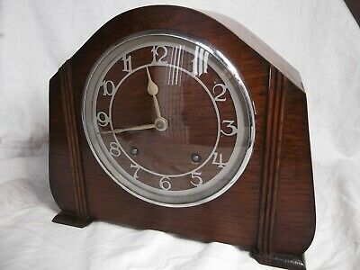 Garrard 8 Day Mantel Clock with Strike. Oak case, Good working order, complete.