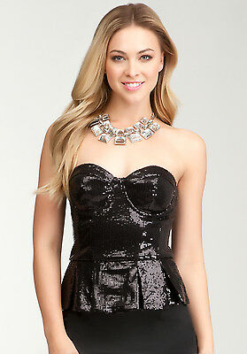NWT bebe sequin black corset ruffle Bustier strapless dress top sexy XS S M L