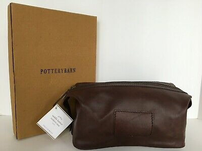 Pottery Barn Saddle Leather Toiletry Case New In Original Box Msrp $59.00